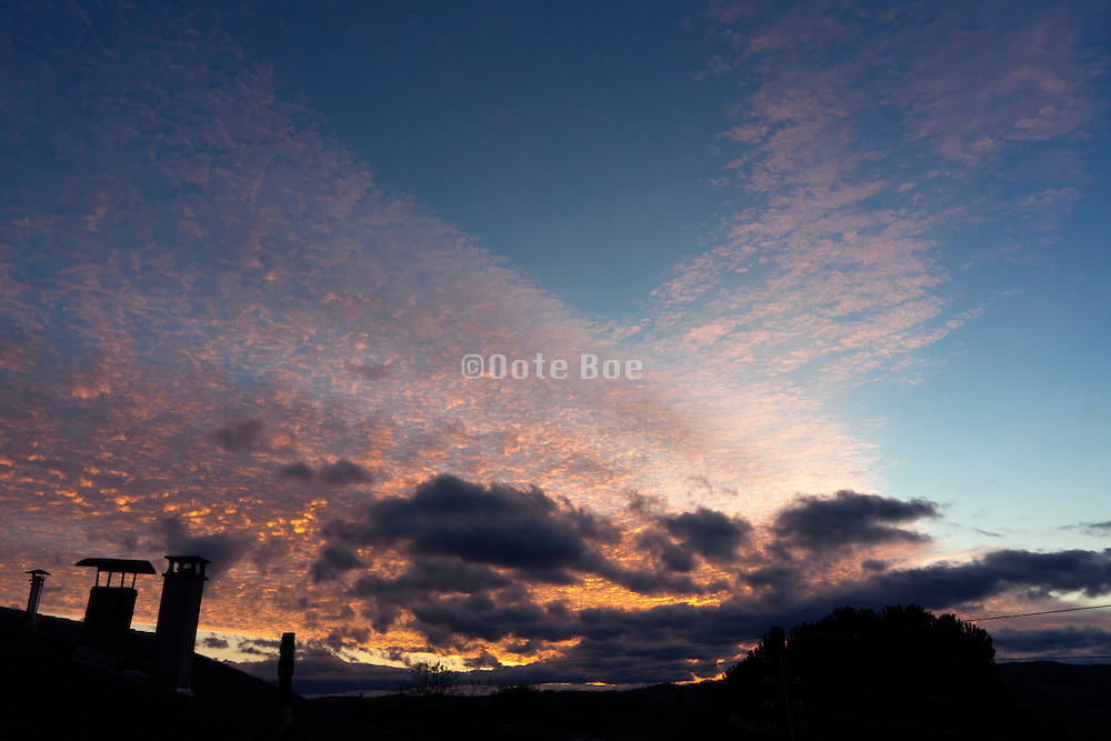 panoramic sky at sunrise