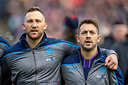 Byron McGuigan (#23)(left) and Greg Laidlaw (#21) of Scotland before the Guinness Six Nations match between Scotland and Wales at BT Murrayfield Stadium, Edinburgh, Scotland on 9 March 2019.