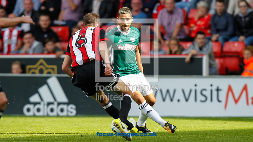 Chris Basham of Sheffield United and Neal Maupay of Brentford during the Sky Bet Championship match between Sheffield United and Brentford at Bramall Lane, Sheffield<br /> Picture by Mark D Fuller/Focus Images Ltd +44 7774 216216<br /> 05/08/2017