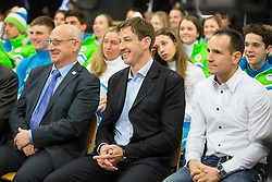 Bogdan Gabrovec, president of OKS, Iztok Cop, vice-president of OKS  and Tomaz Barada  during presentation of Slovenian Young Athletes before departure to EYOF (European Youth Olympic Festival) in Vorarlberg and Liechtenstein, on January 21, 2015 in Bled, Slovenia. Photo by Vid Ponikvar / Sportida