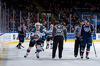 KELOWNA, CANADA - JANUARY 3: Conner Bruggen-Cate #20 of the Kelowna Rockets skates to the bench to celebrate the first goal of the game against the Tri-City Americans on January 3, 2017 at Prospera Place in Kelowna, British Columbia, Canada.  (Photo by Marissa Baecker/Shoot the Breeze)  *** Local Caption ***