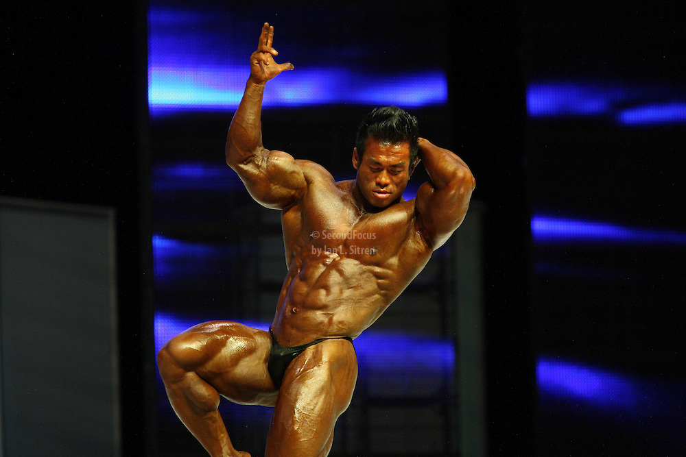 Hidetada Yamagishi on stage at the finals for the 2009 Mr. Olympia competition in Las Vegas.