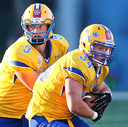 06.06.2014, Stadion Ravelinstrasse, Wien, AUT, American Football Europameisterschaft 2014, Spiel um Platz 5, Daenemark (DEN) vs Schweden (SWE), im Bild Anders Hermodsson, (Team Sweden, QB, #5) und  Jonathan Wikstrom, (Team Sweden, RB, #34) // during the American Football European Championship 2014 game for place 5 between Denmark and Sweden at the UPC Arena, Graz, Austria on 2014/06/06. EXPA Pictures © 2014, PhotoCredit: EXPA/ Thomas Haumer