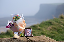 © Licensed to London News Pictures. <br /> 28/03/20167. <br /> Saltburn by the Sea, UK.  <br /> <br /> Floral tributes are left at the top of Huntcliff in Saltburn by the Sea where friends HARRY WATSON and ALEX YEOMAN, both 17, died.<br /> The two teenage boys were found dead at the bottom of the cliffs last Friday.<br /> They are understood to be childhood friends and attended Freebrough College in Middlesbrough.<br /> Teesside Coroners Service have confirmed an inquest into the deaths would be opened for the two friends.<br /> <br /> <br /> Photo credit: Ian Forsyth/LNP