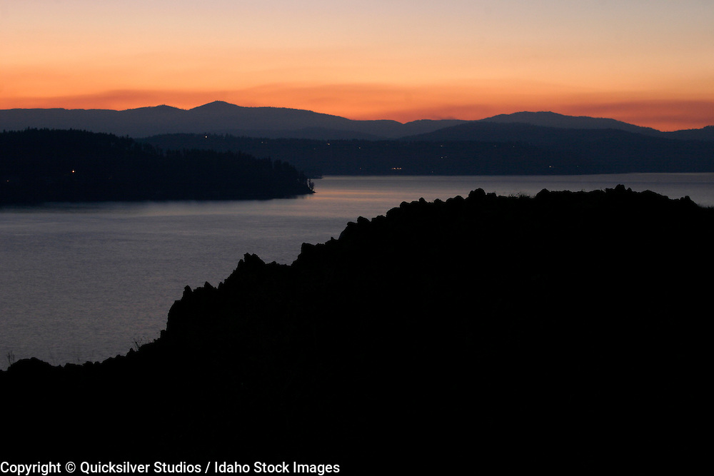Idaho, Coeur dAlene, Lake and Rock, Sunset
