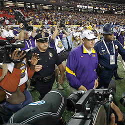 Dec 3, 2011; Atlanta, GA, USA; LSU Tigers head coach Les Miles following a win over the Georgia Bulldogs in the 2011 SEC championship game at the Georgia Dome.  Mandatory Credit: Derick E. Hingle-US PRESSWIRE