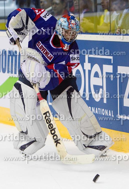 Robert Kristan, goalkeeper of Slovenia during ice-hockey match between Slovakia and Slovenia of Group A of IIHF 2011 World Championship Slovakia, on April 29, 2011 in Orange Arena, Bratislava, Slovakia. Slovakia defeated Slovenia 3-1. (Photo By Vid Ponikvar / Sportida.com)