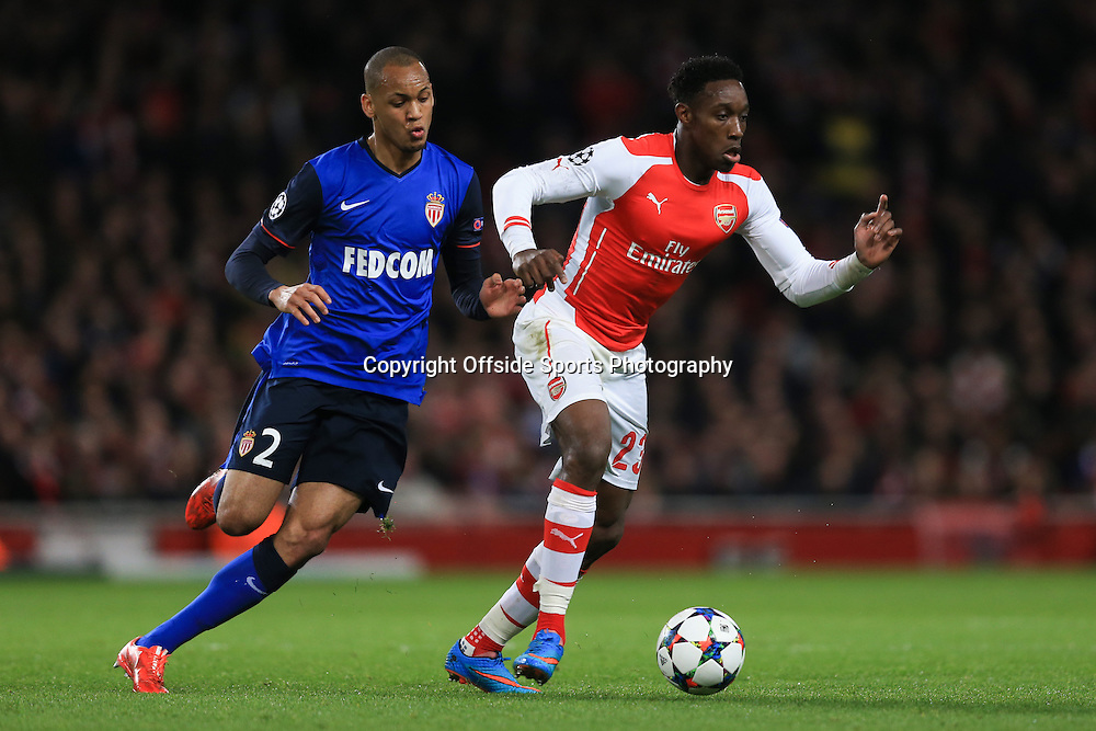 25 February 2015 - UEFA Champions League - Last 16 (1st Leg) - Arsenal v AS Monaco - Danny Welbeck of Arsenal in action with Fabinho of AS Monaco - Photo: Marc Atkins / Offside.