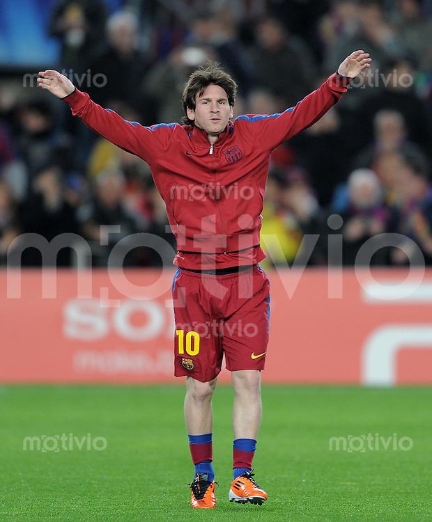 FUSSBALL   CHAMPIONS LEAGUE   SAISON 2010/2011   Achtelfinale  08.03.2011 FC Barcelona - Arsenal London Lionel Messi (Barca) beim Aufwaermen