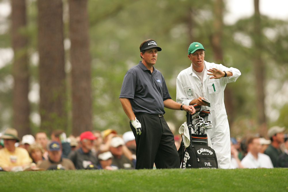 "Phil Mickelson.Jim ""Bones"" Mackay..2005 Masters Tournament.2nd round.Saturday, April 9 2005.Augusta National GC.Augusta, GA..photograph by Darren Carroll.4-9-05"