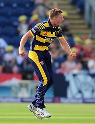 Timm van der Gugten of Glamorgan celebrates the wicket of Jayawardene.   - Mandatory by-line: Alex Davidson/JMP - 22/07/2016 - CRICKET - Th SSE Swalec Stadium - Cardiff, United Kingdom - Glamorgan v Somerset - NatWest T20 Blast