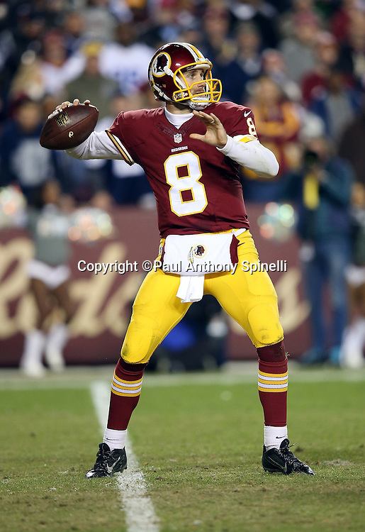 Washington Redskins quarterback Kirk Cousins (8) throws a pass during the 2015 week 13 regular season NFL football game against the Dallas Cowboys on Monday, Dec. 7, 2015 in Landover, Md. The Cowboys won the game 19-16. (©Paul Anthony Spinelli)
