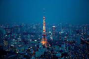 View  of  tokyo at  night including tokyo tower. As seen from Roppongi Hills &quot;Mori Tower&quot;<br />