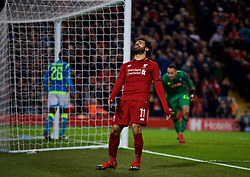 LIVERPOOL, ENGLAND - Tuesday, December 11, 2018: Liverpool's Mohamed Salah looks dejected after missing a chance during the UEFA Champions League Group C match between Liverpool FC and SSC Napoli at Anfield. (Pic by David Rawcliffe/Propaganda)