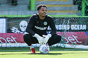 Forest Green Rovers goalkeeper Joe Wollacott(13) during the EFL Sky Bet League 2 match between Forest Green Rovers and Grimsby Town FC at the New Lawn, Forest Green, United Kingdom on 17 August 2019.