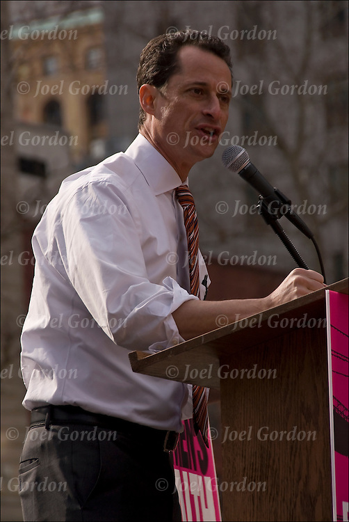 New York Congressman Anthony Weiner speaking at rally to stand up for woman's rights against passage of anti-choice legislation in the House of Representatives, which if made into law, would eliminate basic health care and education services to millions of Americans.