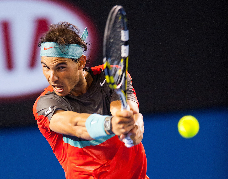 Rafael Nadal (ESP) faced G. Monfils (FRA) in Day 6 play at the 2014 Australian Open in Melbourne's Rod Laver Arena. Nadal defeated Monfils 6-1, 6-2, 6-3.