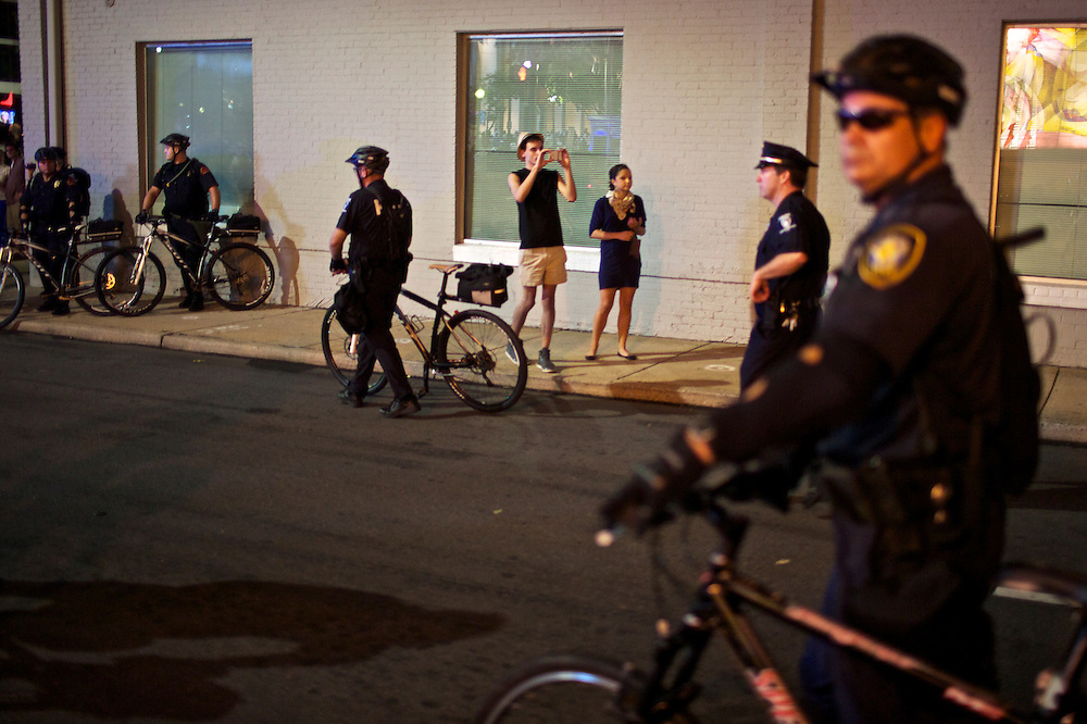 Police organize to block streets during a protest in Charlotte, N.C. during the 2012 Democratic National Convention on Sept. 6, 2012.