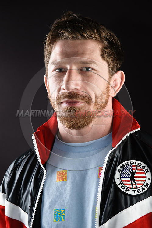 """BIRMINGHAM, ENGLAND, NOVEMBER 3, 2011: Mike Brown poses for a portrait after the press conference for """"UFC 138: Munoz vs. Leben"""" inside the Hilton Hotel in Birmingham, England on November 3, 2011."""