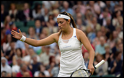 Wimbledon Tennis Championships. Mariana Duque Marino from Colombia<br /> Laura Robson of Great Britain during the singles second round match  on Centre Court on day 5 of The All England Lawn Tennis Club, Wimbledon, United Kingdom, Robson went on to win the game.<br /> Friday, 28th June 2013<br /> Picture by Andrew Parsons / i-Images