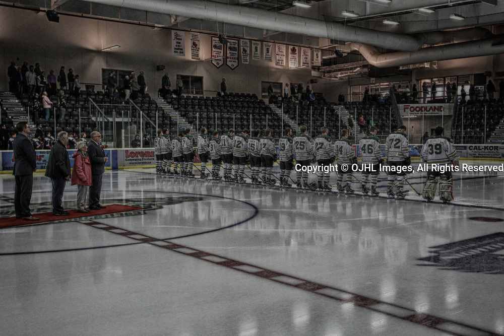 COBOURG, ON - SEP 12,  2016: Ontario Junior Hockey League game between Pickering and Cobourg, The pregame ceremony honouring Bill Maguire.<br /> (Photo by Tim Bates / OJHL Images)