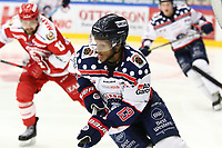 2018-11-14 | Ljungby, Sweden: Mörrums (13) Khalid Ibrahim during the game between Troja Ljungby and Mörrums GoIS at Ljungby Arena ( Photo by: Fredrik Sten | Swe Press Photo )<br /> <br /> Keywords: Icehockey, Ljungby, HockeyEttan, Troja Ljungby, Mörrums GoIS, Ljungby Arena div1, division, troja, ljungby, mörrum, gois,