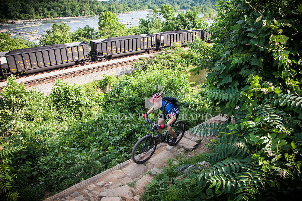 Photos of Russ Fender trail biking on Richmond's North Bank Trail