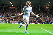 Leeds United defender Ezgjan Alioski (10) scores a goal and celebrates to make the score 1-0 during the EFL Sky Bet Championship match between Leeds United and West Bromwich Albion at Elland Road, Leeds, England on 1 October 2019.