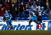 Photo: Daniel Hambury.<br />Reading v West Bromwich Albion. The FA Cup. 17/01/2006.<br />Reading's Leroy Lita (C) celebrates his second goal to make it 2-2.