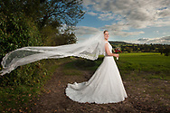 Bride in field with veil flowing. Photographed by Julian Hall at Deer Park Country House in Devon