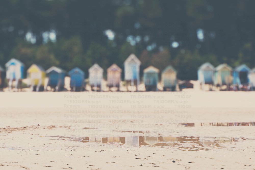 a row of beach huts on a summer afternoon at wells next to the sea, norfolk, england