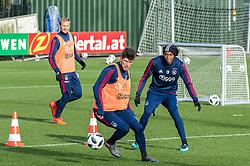 (L-R) Siem de Jong of Ajax, Klaas Jan Huntelaar of Ajax, Mateo Cassierra of Ajax during the trainings session of Ajax Amsterdam at the Toekomst on January 30, 2018 in Amsterdam, The Netherlands