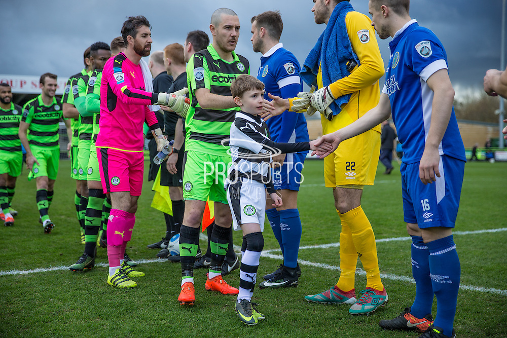 Respect handshake during the Vanarama National League match between Forest Green Rovers and Macclesfield Town at the New Lawn, Forest Green, United Kingdom on 4 March 2017. Photo by Shane Healey.