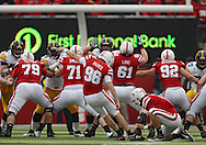 November 25, 2011: Nebraska Cornhuskers punter Brett Maher (96) kicks a field goal from the hold of Nebraska Cornhuskers' Austin Cassidy (8) during the first half of the NCAA football game between the Iowa Hawkeyes and the Nebraska Cornhuskers at Memorial Stadium in Lincoln, Nebraska on Friday, November 25, 2011.