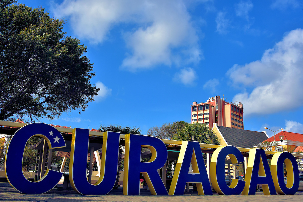 Curaçao Sign in Punda, Eastside of Willemstad, Curaçao  <br />