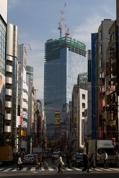 A skyscraper rises above Shibuya Station as part of the massive redevelopments in the area. Shibuya, Tokyo, Japan. Wednesday November 21st 2018