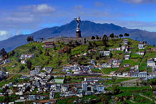 The statue of La Virgen de Quito overlooks the city of Quito from the El Panecillo, Ecuador.