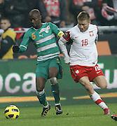 POLAND, Poznan : Didier Zokora of Ivory Coast vies for the ball with Jakub Blaszczykowski of Poland (R) during their international friendly football match in Poznan on November 17, 2010. Photo: Piotr Hawalej / WROFOTO