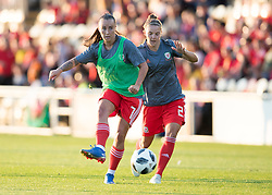 NEWPORT, WALES - Thursday, August 30, 2018: Wales' Natasha Harding warms up ahead of the FIFA Women's World Cup 2019 Qualifying Round Group 1 match between Wales and England at Rodney Parade. (Pic by Laura Malkin/Propaganda)