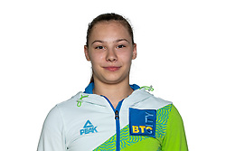 Lucija Hribar at official photoshoot of Slovenian Gymnastics team prior to 2018 Koper Challenge Cup, on May 14, 2018 in Gimnasticna dvorana, Ljubljana, Slovenia. Photo by Matic Klansek Velej / Sportida