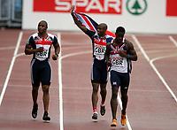 Friidrett , 13. juli 2006 , Gøteborg , EM ,<br /> Europamesterskapet ,<br /> Athletics , European  Championship <br /> 396  Dwain Chambers,      <br /> 398  Marlon Devonish,      <br />  412  Mark Lewis-Francis,   GBR , 4x100 m