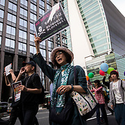 TOKYO, JAPAN - MAY 21 : Protesters marched through the streets of Ginza district during a World March Against Monsanto in Tokyo on Saturday afternoon, May 21, 2016. Marches and rallies against Monsanto and genetically modified organisms (GMO) food and seeds were held in different cities across the U.S. and other countries as part of campaign calling attention to the dangers posed by GMO foods.<br /> <br /> Photo: Richard Atrero de Guzman