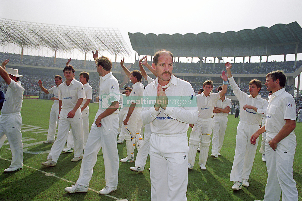South Africa's Clive Rice leads his team back into International Cricket in Calcutta.