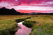 Sunset over Tuolumne Meadows along Budd Creek, Yosemite National Park, California