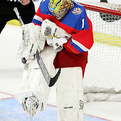 COBOURG, - Dec 19, 2015 -  Gold Metal Game - Russia vs Canada West at the 2015 World Junior A Challenge at the Cobourg Community Centre, ON. Mikhail Berdin #1 of Team Russia makes the save during the second period.(Photo: Tim Bates / OJHL Images)