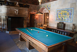 Billard table in the billard room, Casa grande, Hearst Castle, California, United States of America