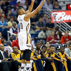 Oct 30, 2013; New Orleans, LA, USA; New Orleans Pelicans shooting guard Eric Gordon (10) shoots a three pointer against the Indiana Pacers during the first half of a game at New Orleans Arena. Mandatory Credit: Derick E. Hingle-USA TODAY Sports