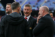 Manchester United Manager Ole Gunnar Solskjaer shares a laugh with Manchester United Assistant Manager Mike Phelan and Ryan Giggs during the Champions League quarter-final leg 2 of 2 match between Barcelona and Manchester United at Camp Nou, Barcelona, Spain on 16 April 2019.