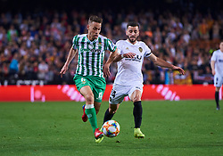 February 28, 2019 - Valencia, U.S. - VALENCIA, SPAIN - FEBRUARY 28: Sergio Canales, midfielder of Real Betis Balompie competes for the ball with Jose Luis Gaya, defender of Valencia CF during the Copa del Rey match between Valencia CF and Real Betis Balompie at Mestalla stadium on February 28, 2019 in Valencia, Spain. (Photo by Carlos Sanchez Martinez/Icon Sportswire) (Credit Image: © Carlos Sanchez Martinez/Icon SMI via ZUMA Press)