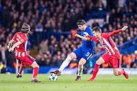 LONDON,ENGLAND - DECEMBER 05: Atletico Madrid (3) Filipe Luís, Atletico Madrid (19) Lucas Hernández, Chelsea (9) Álvaro Morata  during the UEFA Champions League group C match between Chelsea FC and Atletico Madrid at Stamford Bridge on December 5, 2017 in London, United Kingdom.  <br /> ( Photo by Sebastian Frej / MB Media )